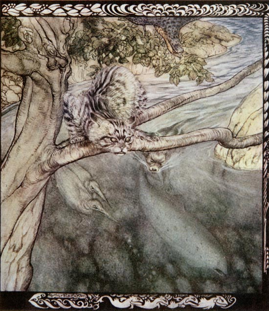 Irish Fairy Tales, The Story of Tuan Mac Cairill: Every beast pursued me... so that I got no rest, Arthur Rackham.